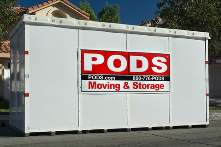 storage box: CANYON COUNTRY,CAUSA - OCTOBER 31, 2015: PODS Moving and Storage Container. Portable On Demand Storage, is a moving and storage company.