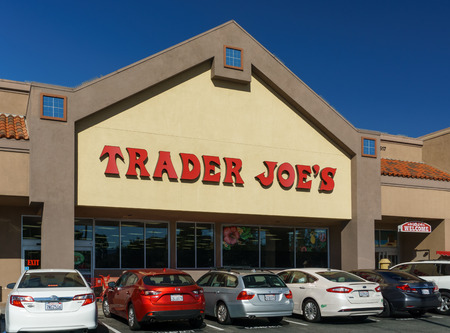 headquartered: SANTA CLARITA,CAUSA - OCTOBER 31, 2015: Trader Joes  exterior and sign. Trader Joes is an American privately held chain of specialty grocery stores headquartered in Monrovia, California.