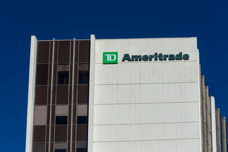 td: LOS ANGELES, CAUSA - November 11, 2015: TD Ameritrade Building and logo. TD Ameritrade is an American online broker of financial products.