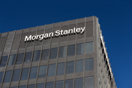 stanley: LOS ANGELES, CAUSA - NOVEMBER 11, 2015: Morgan Stanely building and logo. Morgan Stanley is an American multinational financial services corporation.
