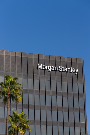 financial services: LOS ANGELES, CAUSA - NOVEMBER 11, 2015: Morgan Stanely building and logo. Morgan Stanley is an American multinational financial services corporation.