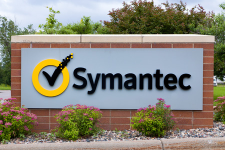 technolgy: ROSEVILLE, MNUSA - JUNE 28, 2014: Symantec regional office sign. Symantec makes security, storage, backup and availability software and offers professional services to support its software. Editorial