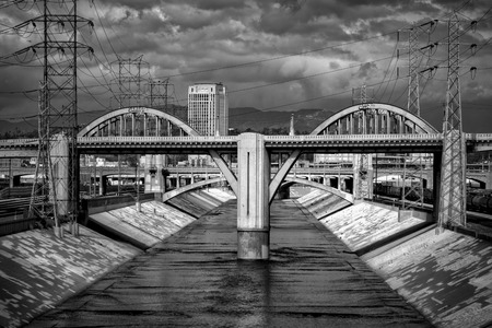 the sixth: Sixth Street Viaduct and Los Angeles River in downtown Los Angeles, California Stock Photo
