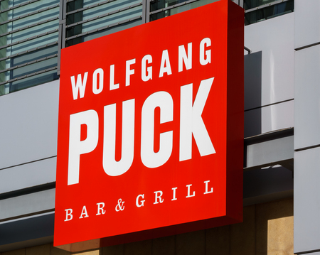 cuisine entertainment: LOS ANGELES, CAUSA - December 6, 2015: Wolfgang Puck Bar and Grill exterior at L.A. Live. Wolfgang Puck is an Austrian celebrity chef. Editorial