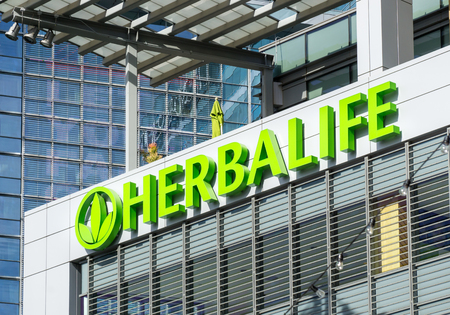 LOS ANGELES, CAUSA - December 6, 2015: Herbalife building and logo. Herbalife International is a multi-level marketing company that sells nutrition, weight management and skin-care products. Editorial
