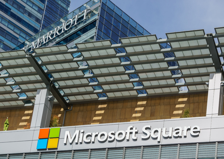 famous industries: LOS ANGELES, CAUSA - December 6, 2015: LOS ANGELES, CAUSA - December 6, 2015: Microsoft Square at LA Live. Microsoft Square is an open-air plaza that serves as the central meeting place for L.A. Live. Editorial