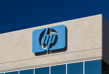 hp: LOS ANGELES, CAUSA - NOVEMBER 22, 2015: Hewlett-Packard facility sign and logo.  HP is an American multinational information technology corporation. Editorial