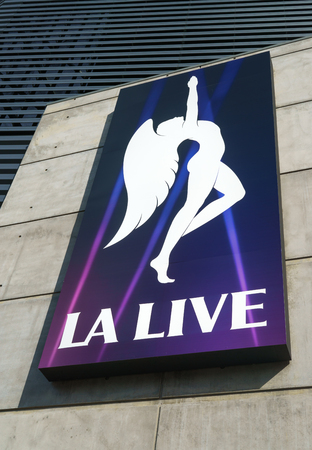stapes: LOS ANGELES, CAUSA - December 6, 2015: LA Live marquee. L.A. LIVE is an entertainment complex in the South Park District of Downtown Los Angeles, California.