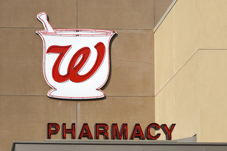 retailing: LOS ANGELES, CAUSA - December 6, 2015: Walgreens store exterior and logo. Walgreens is the largest drug retailing chain in the United States.