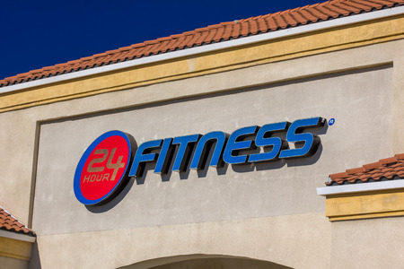 MONROVIA, CA/USA - NOVEMBER 22, 2015: 24 Fitness Center Building. 24 Hour Fitness is the world's largest privately owned d fitness center chain.