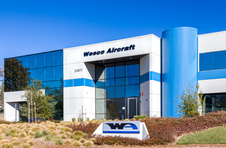 aerospace industry: VALENCIA CAUSA - DECEMBER 26, 2015: Wesco Aircraft corporate headquarters. Wesco Aircraft provides supply chain management services to the aerospace industry.