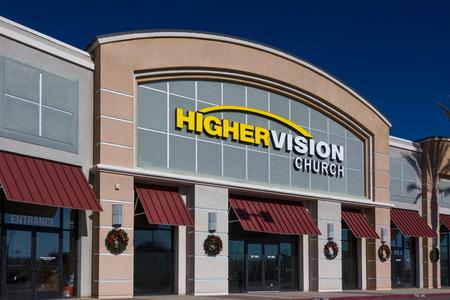 church service: VALENCIA CAUSA - DECEMBER 26, 2015: Higher Vision exterior  . Higher Vision church is a non-demoninational Christian church in the United States.