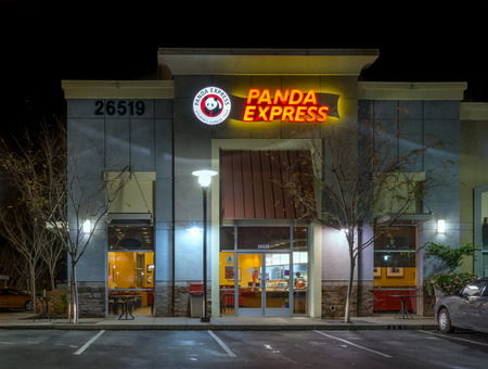 SANTA CLARITA, CAUSA - JANUARY, 5, 2016: Panda Express restaurant exterior and logo. Panda Express is a fast casual restaurant chain which serves American Chinese cuisine.