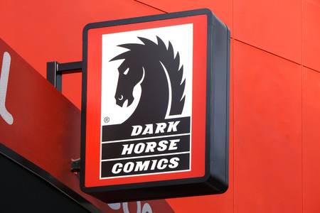 the publisher: UNIVERSAL CITY, CAUSA DECEMBER 22, 2015: Dark Horse Comics retail store and sign. Dark Horse Comics is an American comic book and manga publisher. Editorial