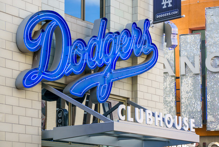 athletic wear: uNIVERSAL CITY, CAUSA DECEMBER 22, 2015: Los Angeles Dodgers Clubhouse retail store entrance and sign. Editorial