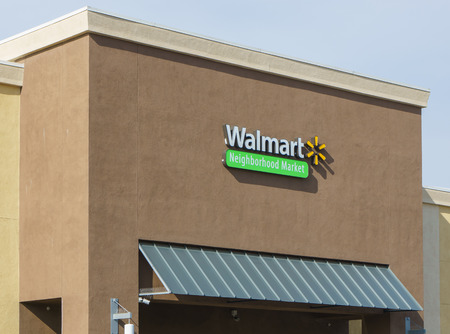 walmart: ALTADENA, CAUSA - JANUARY 16, 2016: Walmart Neighborhood Market store. Walmart Neighborhood Market stores are owned by Walmart. Editorial