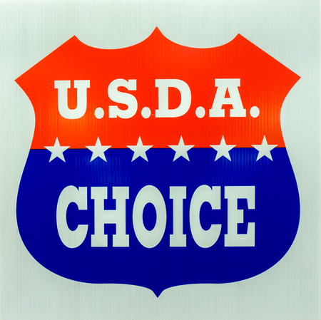 rated: VALENCIA, CAUSA - JANUARY 17, 2016: U.S.D.A Choice emblem and logo as rated by the United States Department of Agriculture. Editorial