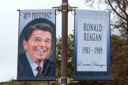 SIMI VALLEY, CAUSA - JANUARY 23, 2016: Banner of Ronald Reagan at the Ronald Reagan Presidential Library and Museum. Editorial