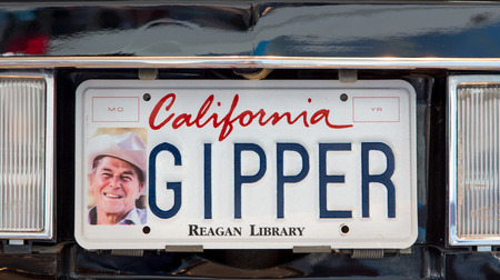 ronald reagan: SIMI VALLEY, CAUSA - JANUARY 23, 2016: Ronald Reagan presidential limosine license plate  the Ronald Reagan Presidential Library and Museum.