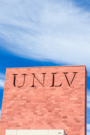 LAS VEGAS, NV/USA - FEBRUARY 13, 2016: Campus sign and logo at the University of Nevada, Las Vegas on Campus of University of Nevada, Las Vegas