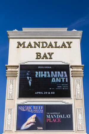 LAS VEGAS, NVUSA - FEBRUARY 15, 2016: Mandalay Bay Hotel and Casino. Mandalay Bay is on the Las Vegas Strip and is owned and operated by MGM Resorts International.