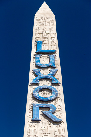 LAS VEGAS, NV/USA - FEBRUARY 15, 2016: Luxor Las Vegas hotel and casino sign and logo. Luxor Las Vegas is a hotel and casino on the Las Vegas Strip. Editorial