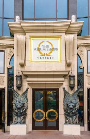 caesars palace: LAS VEGAS, NVUSA - FEBRUARY 14, 2016: The Forum Shops entrance and logo at Caesars Palace. The Forum Shops at Caesars is ashopping mall connected to Caesars Palace on the Las Vegas Strip.