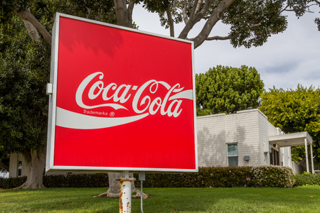 VENTURA, CAUSA - MARCH 4, 2016: Coca Cola sign and logo. Coca-Cola is produced by The Coca-Cola Company.