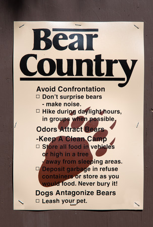 smokies: Sign in forest warns campers and hikers of bears. Stock Photo