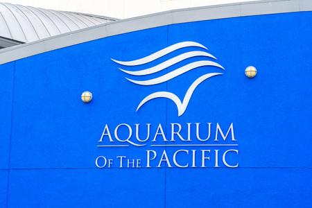public aquarium: LONG BEACH, CAUSA - MARCH 19, 2016: Aquarium of the Pacific exterior and logo. The Aquarium of the Pacific is a public aquarium.