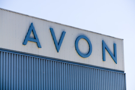 PASADENA, CAUSA - APRIL 16, 2016: Avon Corporation distribution center and logo. Avon Products, Inc, is an American international manufacturer and direct selling company in beauty products.