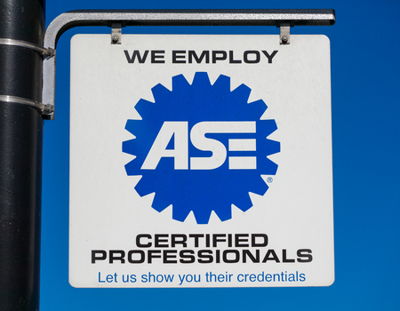 PASADENA, CAUSA - APRIL 16, 2016: ASE sign and logo. The National Institute for Automotive Service Excellence is a professional certification group that certifies professionals and auto repair shops.