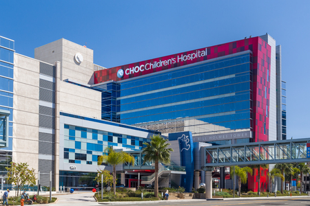 ORANGE, CAUSA - APRIL 16, 2016: Childrens Hospital of Orange County exterior and logo. CHOC is a pediatric childrens hospital in California.