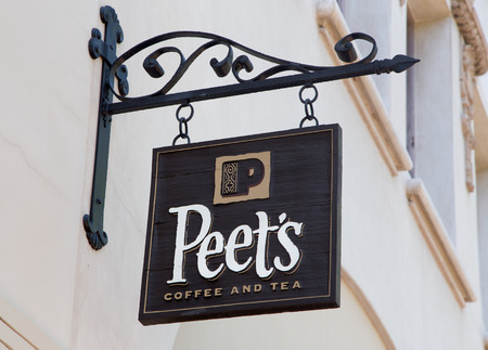 retailer: SANTA BARBARA, CAUSA - APRIL 30, 2016: Peets Coffee and Tea exterior and sign. Peets Coffee is a San Francisco Bay Area based specialty coffee roaster and retailer. Editorial
