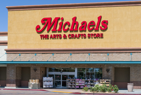 retail chain: PALMDALE, CAUSA - APRIL 23, 2016: Michaels retail store exterior and sign. Michaels Stores, Inc. is a North American arts and crafts retail chain.
