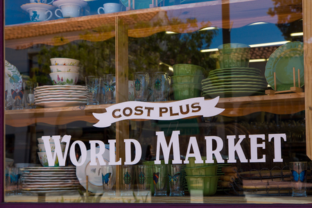 world market: SANTA BARBARA, CAUSA - APRIL 30, 2016: Cost Plus World Market store. Cost Plus World Market is a import retail stores and a subsidiary of Bed Bath & Beyond.