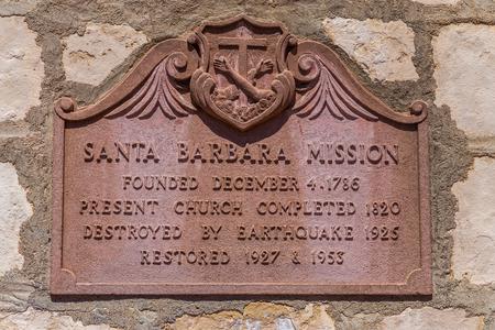 barbara: SANTA BARBARA, CAUSA - APRIL 30, 2016:  Mission Santa Barbara exterior. The Santa Barbara Mission is was founded by the Franciscan order near present-day Santa Barbara, California.