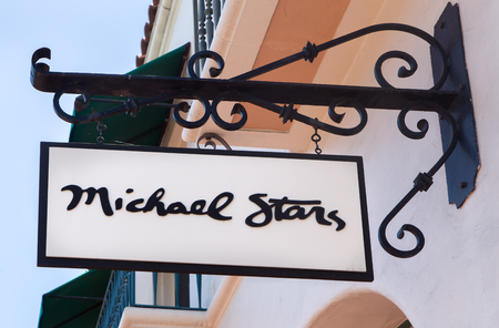 retail chain: SANTA BARBARA, CAUSA - APRIL 30, 2016: Michael Stars retail store exterior and sign. Michael Stars is a California based retail chain of casual clothing.