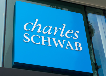 brokerage: SANTA MONICA, CAUSA - MAY 12, 2016: Charles Schwab exterior sign and logo. The Charles Schwab Corporation is an American brokerage and banking company. Editorial