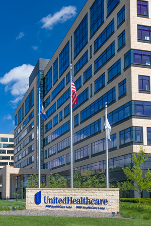 diversified: MINNETONKA, MNUSA - MAY 29, 2016: UnitedHealthcare corporate headquarters exterior and sign. UnitedHealth Group Inc. is an American diversified managed health care company.