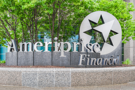 diversified: MINNEAPOLIS, MNUSA - MAY 28, 2016: Ameriprise Financial Services headquarters and logo. Ameriprise Financial, Inc. is an American diversified financial services company.