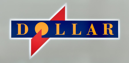 car retailer: MINNEAPOLIS, MNUSA - MAY 22, 2016: Dollar Car Rental sign and logo. Dollar Thrifty Automotive Group is a holding company for Thrifty Car Rental and Dollar Rent A Car.