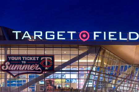 ballpark: MINNEAPOLIS, MNUSA - MAY 23, 2016: Exterior of Target Field, home of the Minnesota Twins Major League Baseball team.