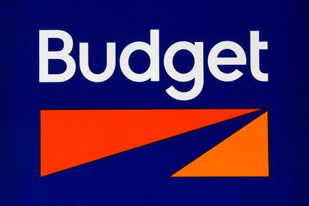MINNEAPOLIS, MN/USA - MAY 22, 2016: Budget Rent a Car sign and logo. Budget Rent a Car System, Inc. is an American car rental company.