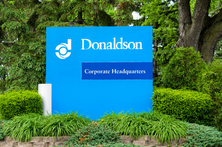 patents: BLOOMINGTON, MNUSA - MAY 23, 2016: Donaldson Company headquarters exterior and logo. Donaldson Company, Inc. is a filtration company.