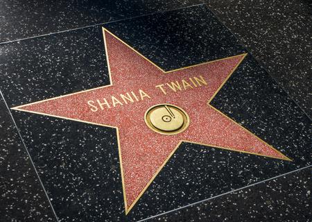 twain: HOLLYWOOD, CAUSA - JULY 9, 2016:  Shania Twain star on the Hollywood walk of fame.