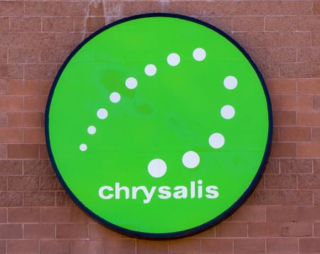 chrysalis: CEDAR CITY, UTUSA - AUGUST 13, 2016: Chrysalis exterior sign and logo. Chrysalis provides service to disabled individuals in the United States.