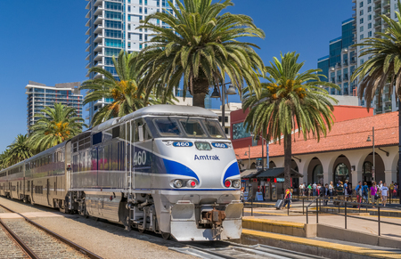 SAN DIEGO, CAUSA - SEPTEMBER 9, 2016: Amtrak train arriving at Santa Fe Depot in downtown San Diego.