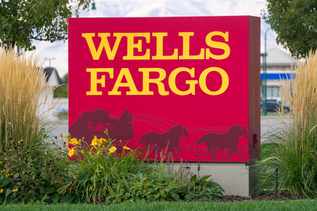 PROVO, UTUSA - OCTOBER 2, 2016: Wells Fargo exterior sign and logo. Wells Fargo & Company is an American international banking and financial services holding company. Editorial