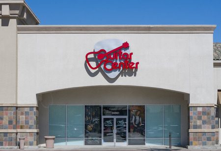 VALENCIA, CAUSA - SEPTEMBER 24, 2016: Guitar Center retail store exterior and logo. Guitar Center is the largest chain of musical instrument retailers in the world.